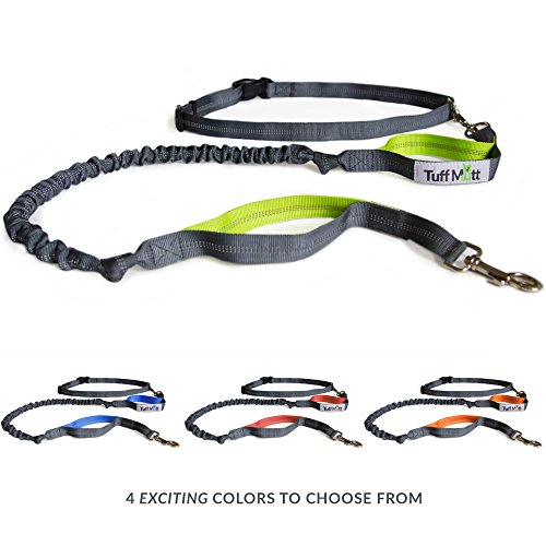 tuff-mutt-hands-free-dog-leash-for-running-walking-hiking-durable-dual-handle-bungee-leash-reflectiv