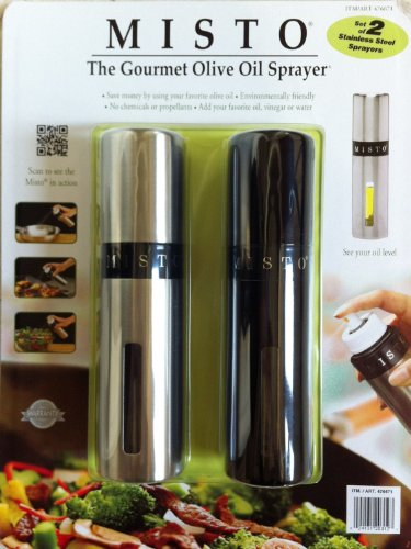 Misto Gourmet Olive Oil Sprayer (Set of 2) Silver and Black