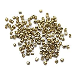 Beadsnfashion Seed Beads Bugles Golden (100 Gm), Size 11/0