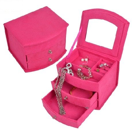 Kloud City® Hot Pink Three-Layer Lint Jewelry Box With Drawers