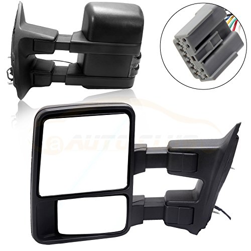Purchase Towing Tow Mirrors Power Heated W/Smoke Signal Telescoping Folding Black Textured and Dual ...