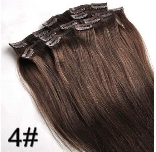"""26"""" Clips In Remy Human Hair Extension Attach Straight 4# Dark Chestnut Brown 120G"""