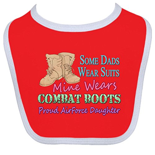 Inktastic Baby Boysâ€Tm Daddy'S Boots Air Force Daughter Baby Bib One Size Red/White front-923045