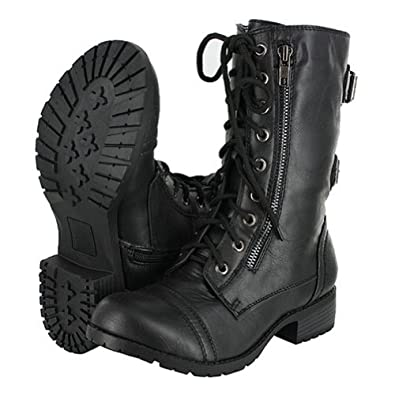 Amazon.com: Top Moda Pack-72 Black Military Lace up Mid Calf Combat