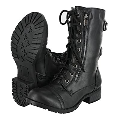 Amazon.com: Top Moda Pack-72 Black Military Lace up Mid