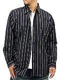 (ルイシャブロン) LOUIS CHAVLON 大きいサイズ メンズ シャツ ストライプ 長袖 セット Tシャツ Vネック 2color 3L ブラック