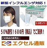インフルエンザ予防に! マスク 医療用 フェイス マスク (50枚入)