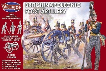 British Napoleonic Foot Artillery (15 w/3 Guns & Limbers) 28mm Victrix Ltd