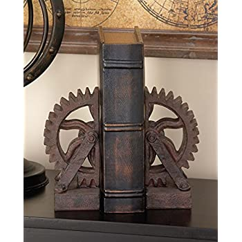 Deco 79 Poly-Stone Gear Bookend, 7 by 5-Inch, Set of 2