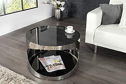 DuNord Design Couchtisch TORONTO 60cm Glas / Edelstahl