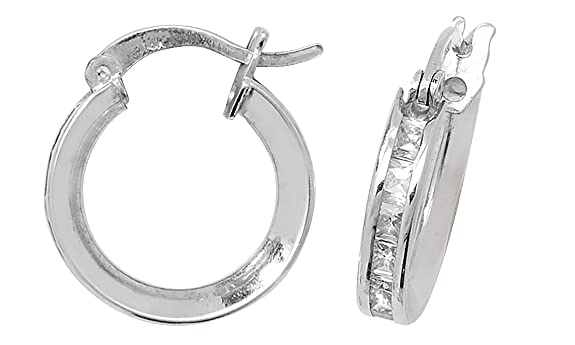 9ct White Gold Cubic Zirconia Medium Hoop Earrings
