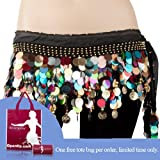 Bellyqueen Belly Dance Hip Scarf With Colorful Paillettes, Gold Coins Lively Style