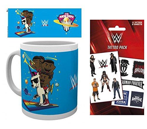 Set: Wrestling, Wwe,new Day Cartoon Tazza Da Caffè Mug (9x8 cm) E 1 Wrestling, Set Tatuaggi (17x10 cm)