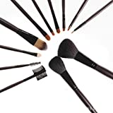 Joly Professional Makeup Brush Set 12 Pcs Cosmetic Brush with Leather Leopard Bag