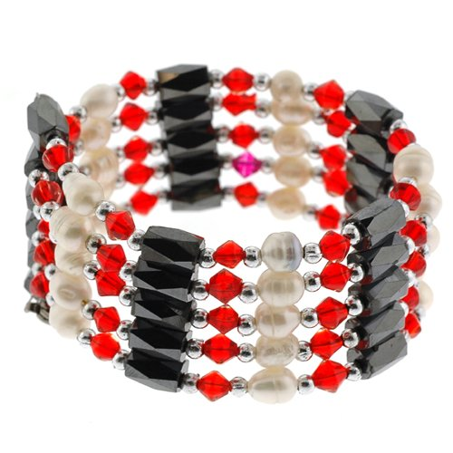 Magnetic Wrap Necklace/Bracelet - Red Bicone with Pearls - 32'' in Length