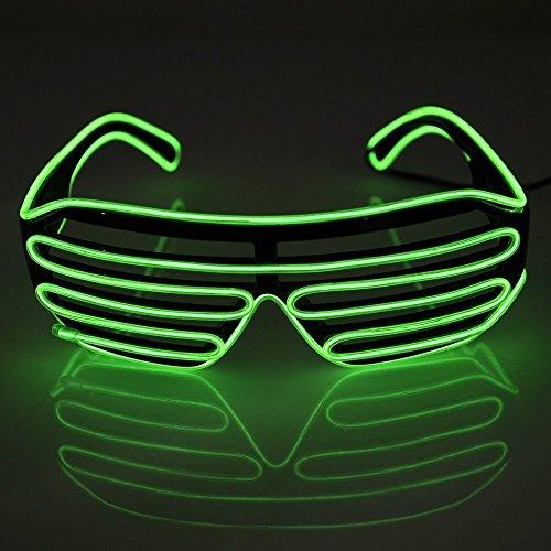 Krismile® Light Up Shutter Glasses El Wire Sun Glasses (Shutters, Green)
