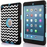 pangshi®3 in 1 Silicone Hybrid Shock Proof Cover Wave Combo Case for Apple iPad Mini & iPad Mini 2 with Retina Display Blue