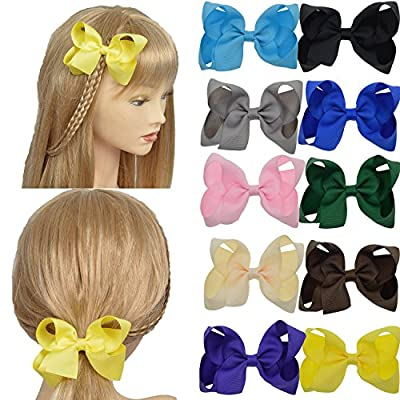 "Lclhb® 20pcs 4"" Women Girl Children Hair Bows Hair Clips Alligator Clip Grosgrain Ribbon 20 Color Aa01"