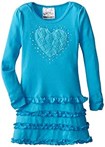 Beautees Little Girls' Tiered Tunic With Heart, Turquoise, 6x