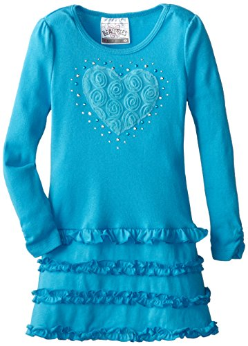 Beautees Little Girls' Tiered Tunic With Heart, Turquoise, 5 front-748842