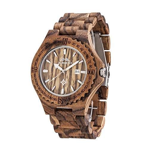 AMEXI Mens wooden watches Calendar watches for men with sports zebra wooden watches