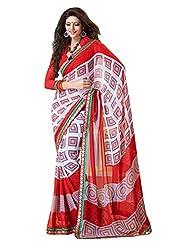 Indian Designer Sari Trendy Geometrical Printed Faux Georgette Saree By Triveni