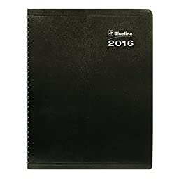 Blueline 2016 Dura Globe 14 Month Planner, Twin-Wire, Soft Black Cover, 8.875\