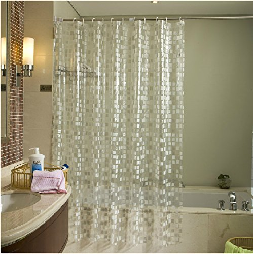 Extra Wide 72 by 78 Eforgift Polyester Bathroom Shower Curtain Water Repellent Fabric Bath Curtain Elegant Spring Green Leaves with 12 Free Hooks and Rust-Proof Grommets