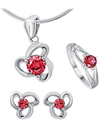 Shiyara Jewells 92.5 Sterling Silver Red Love Jewellery Set Combo For Women With CZ Stones CO09013C