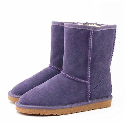 Autunno e inverno neve grossi stivali scarpe femminile della pelle bovina caldo oro rosso da sposa con scarpe basse, la signora stivali caldi in tubo , dream purple , 36