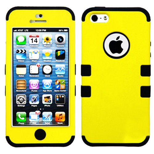 Mylife (Tm) Black And Yellow - Colorful Robot Series (Neo Hypergrip Flex Gel) 3 Piece Case For Iphone 5/5S (5G) 5Th Generation Itouch Smartphone By Apple (External 2 Piece Fitted On Hard Rubberized Plates + Internal Soft Silicone Easy Grip Bumper Gel + Li