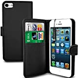 MobileConnect4U Black PU Leather Wallet/Flip Case For iPhone 5/5S With Screen Protector And Stylus