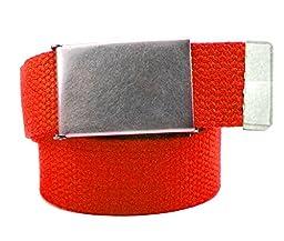 Boys School Uniform Distressed Silver Belt Buckle with Canvas Web Belt Medium Red