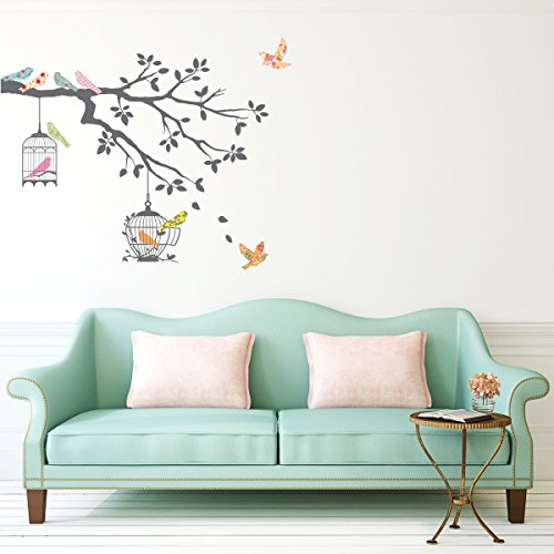 Decowall, DW-1510,Birds on Tree Branch with Bird Cages, peel & stick wall decals (Tree Branches Wall Decals compare prices)