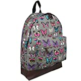Hey Hey Handbags - Ladies Canvas Retro Print Backpack (Butterfly Grey)