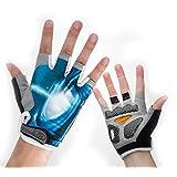 Cycling Gloves Mountain Bike Gloves Road Racing Bicycle Gloves Light Silicone Gel Pad Riding Gloves Half Finger Biking Gloves Men/Women (Blue ,L)