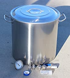 Concord Home Brew Kettle DIY Kit Stainless Steel Beer Stock Pot w/ Accessories (40 QT)
