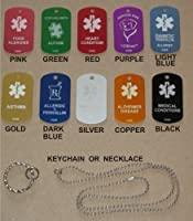 Custom Engraved Personalized Medical Alert ID Dog Tag (Necklaces or Keychain ~ Your Choice) from UniqueLaserEngraving