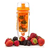 Fruit Flavor Infuser Water Bottles - 32oz - Bright Orange Pantone 811C - Large Infusing Basket for Colorful Display - Trendy Cool Gift of Fitness for Your Special Friend, Mom, Dad, Men, Women, Kids - Healthy New Year Resolution: Drink Water