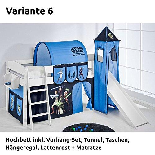 Hochbett Spielbett IDA Star Wars the Clone Wars, mit Turm, Rutsche und Vorhang, weiß, Variante 6