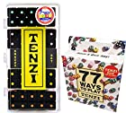 Tenzi Dice Game - Snazzy Set Black (Different Color Dots), with 77 Ways to Play Tenzi Instruction Pack