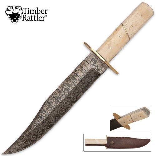 Timber Rattler Damascus Steel Bowie Knife