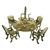 Frabjous Handcrafted Brass Mini Table Chair Set
