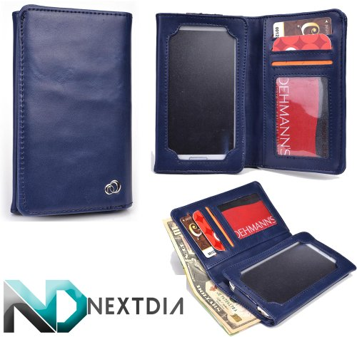 unisex-mens-bifold-wallet-case-huawei-activia-4g-universal-fit-space-cadet-blue-with-viewing-screen-