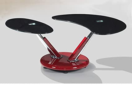 Heartlands Torre Red Base And Black Glass Coffee Table
