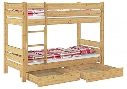 Etagenbett fur Erwachsene Kiefer 90x200 Hochbett teilbar Rollrost Bettkästen 60.16-09 T80 S2