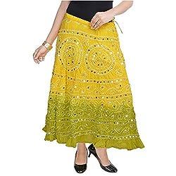 SHREEMANGALAMMART Rajasthani Light Green Bandhej Design Cotton Skirt(Lemon Light Green)(SMSKT534)