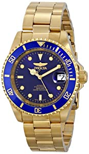 Invicta Men's Automatic Watch with Blue Dial Analogue Display and Gold Stainless Steel Gold Plated Bracelet 8930OB