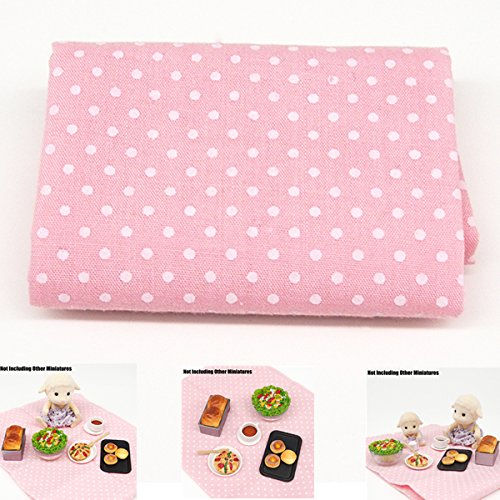 1:12 Pink Polka Dots Picnic Rug Tablecloth Table Garden Miniature Dollhouse Toys