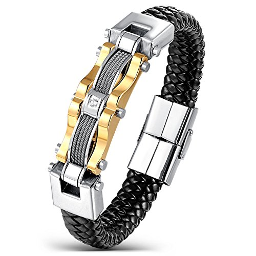 Areke Stainless Steel Braided Leather Bracelets for Men, Punk CZ Cuff Bracelet Bangle Gold 7.5-8.5 Inch Item Length 8.5 inch (Stainless Steel Baby Bracelet compare prices)